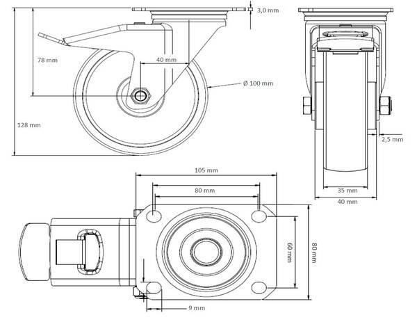 rollensatz 2 lenkrollen mit feststeller 2 bockrollen 100. Black Bedroom Furniture Sets. Home Design Ideas