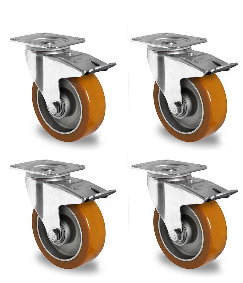 rollensatz 4 lenkrollen mit feststeller 100 mm polyurethan. Black Bedroom Furniture Sets. Home Design Ideas