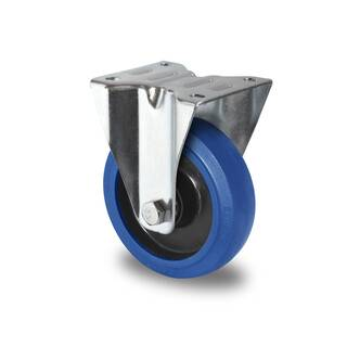 Bockrolle 125 mm Elastik Blue Wheels