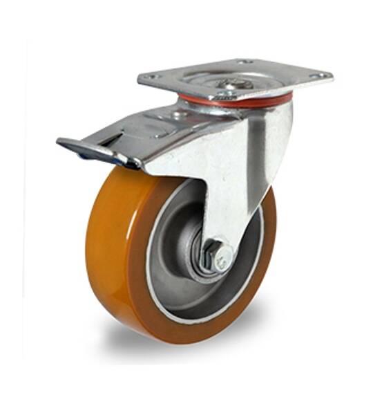 Transportgeräterolle Gummi 200 Mm Anschraubplatte Lenkrolle Mit Bremse Rolle Rad Werkstattausrüstung Business & Industrie