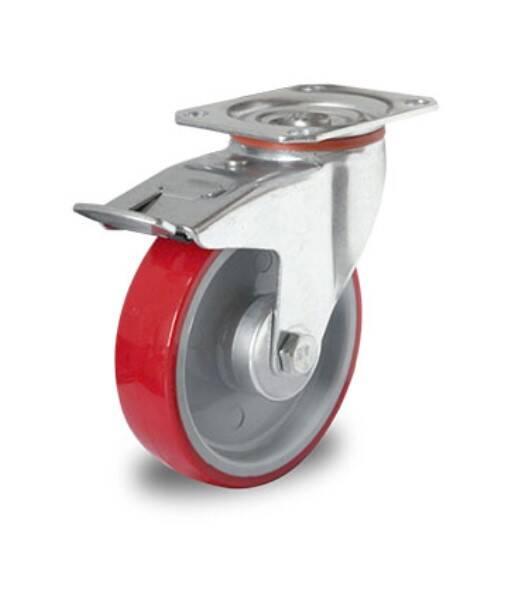 Einbaurad 160 mm Polyurethan rot