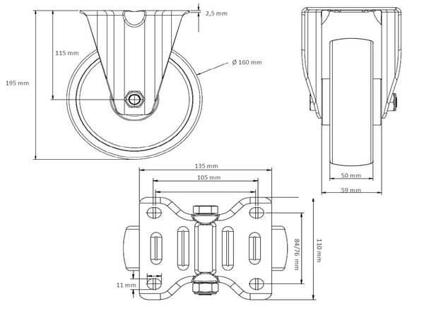 2 Bockrollen 80 mm Polypropylen Rollensatz 2 Lenkrollen mit Feststeller
