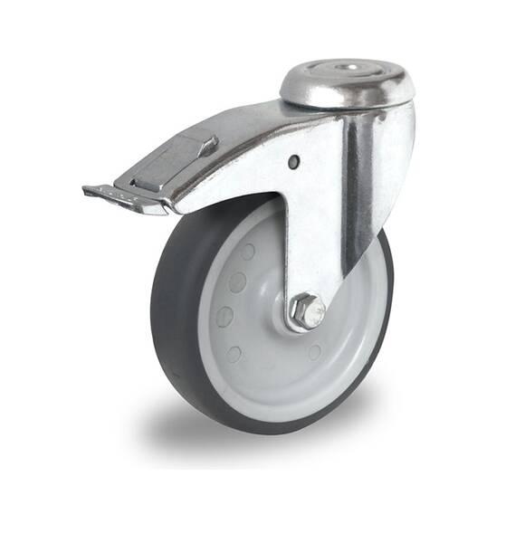 4 Stück 75 mm Apparaterollen Transportrollen Lenkrollen Möbelrollen Rückenloch