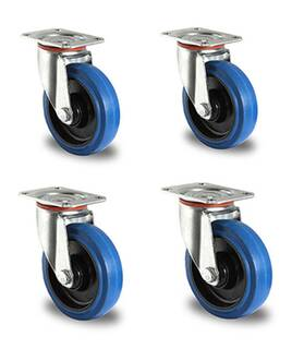 Rollensatz 4 Lenkrollen 100 mm Elastik Blue Wheels
